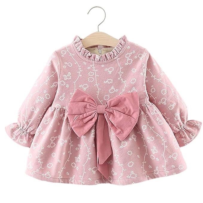 Mädchen  Baby Kleid,Strick Kleid mit Plissee Rock,Pink//Rosa