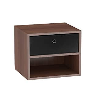 Klaxon Freesia Side Table/Wooden Two Drawer Storage Cabinet with one Fabric Box - Walnut & Black