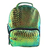 Flada Women Mini Hologram Backpack PU Leather Snakeskin Pattern Travel Gym Casual Daypacks Goldgreen