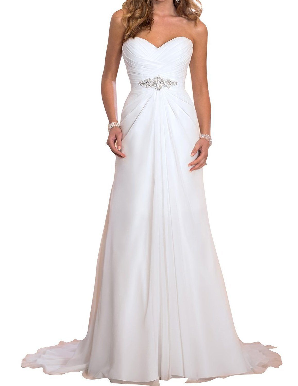 JYDRESS Women's Beading Waist Pleated Wedding Dress 2017 for Bride ELF122101
