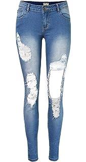 5cc88aca59c31 Pantalon en Denim pour Déchiré La Femmes À Taille Chic Jeune Haute Jeans  Skinny Bouton Extensible