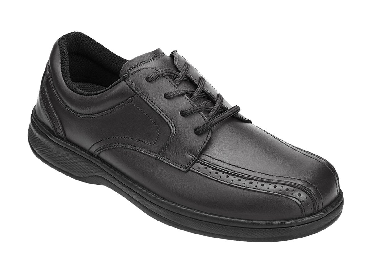 Orthofeet Gramercy Comfort Wide Diabetic Plantar Fasciitis Mens Orthopedic Dress Shoes Black Leather 8.5 W US