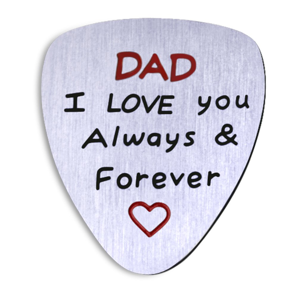 Amazon.com: NationInFashion fathers present from daughter or son coin  guitar pick. Dad I love you always and forever.: Jewelry