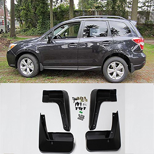 (VioletLisa New Set of 4 Matte Black Durable PP Bolt-On Flap Protect Front & Rear Mud Guards+Screws+Clamps For 13-17 Subaru Forester)