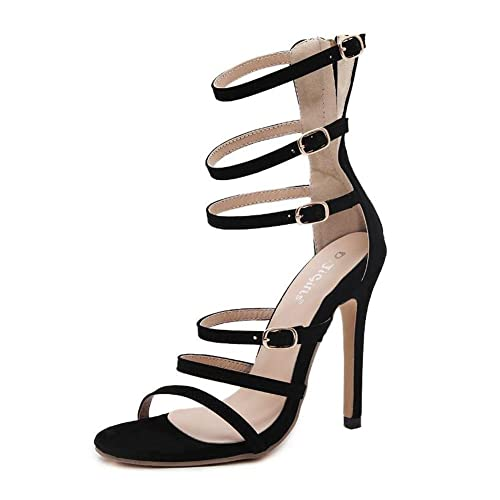 17d4a41f0ca8 Womens ladies stiletto high heel barely there double strap buckle party  shoes size sandals