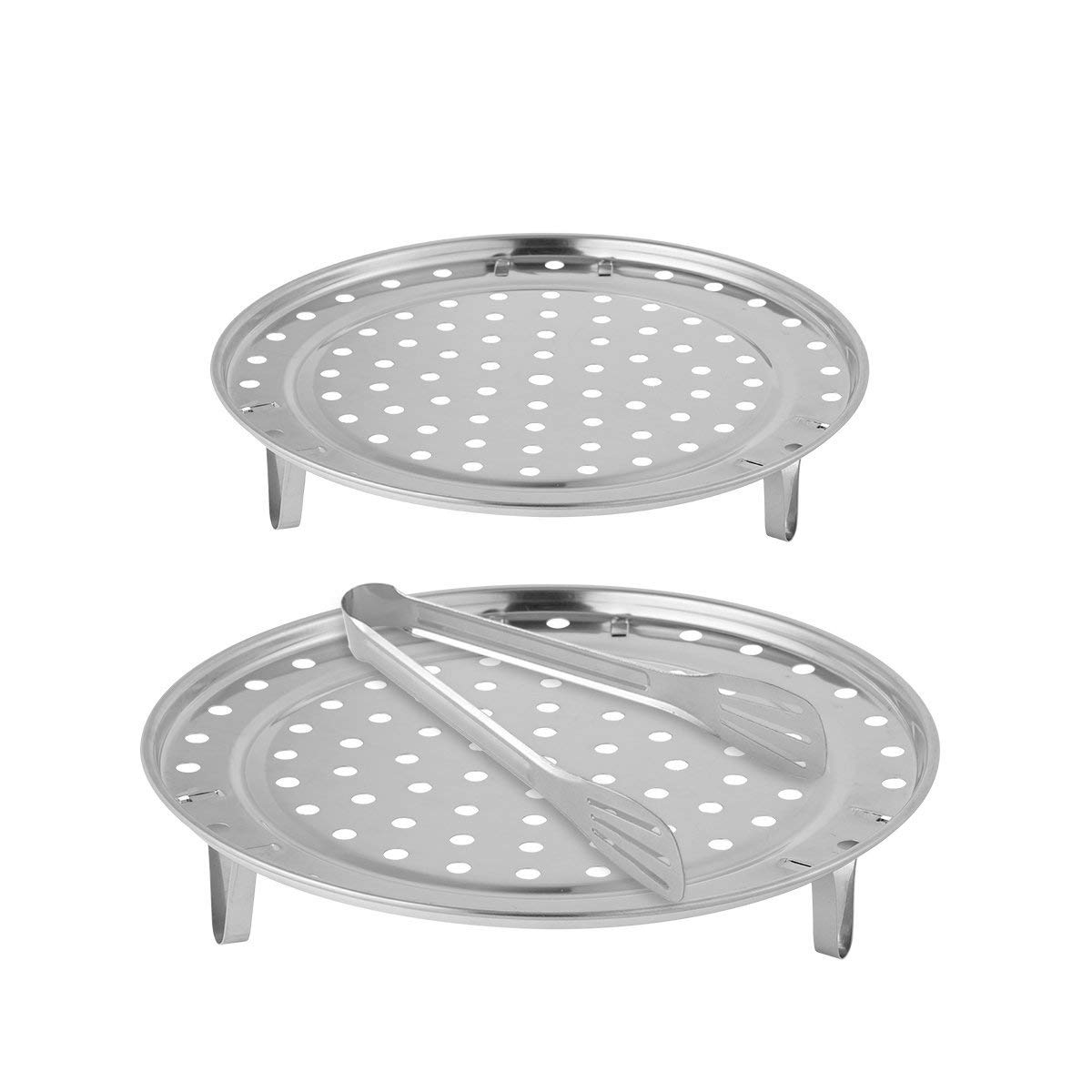 Canning Rack - Aieve 2 Pack 9 10 Inch Canner Rack Cooker Rack Pressure Cooker Rack with Detachable Legs,1 Pack 9 Inch Kitchen Tongs for Cooking,Baking,Toast,Bread,Salad