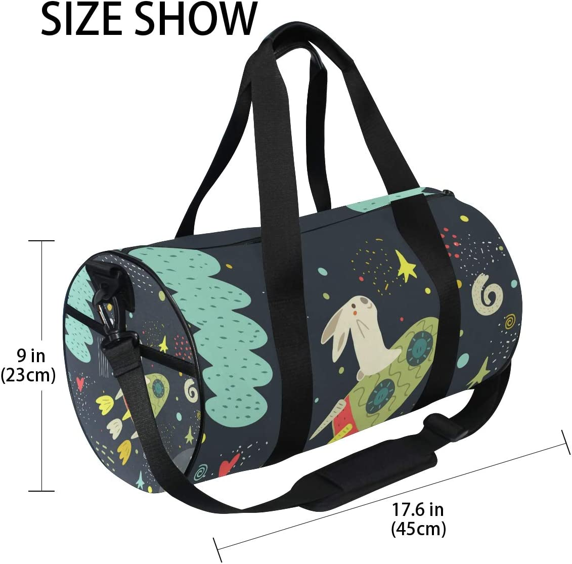 MALPLENA Rabbit On Spacecraft Drum gym duffel bag women Travel Bag