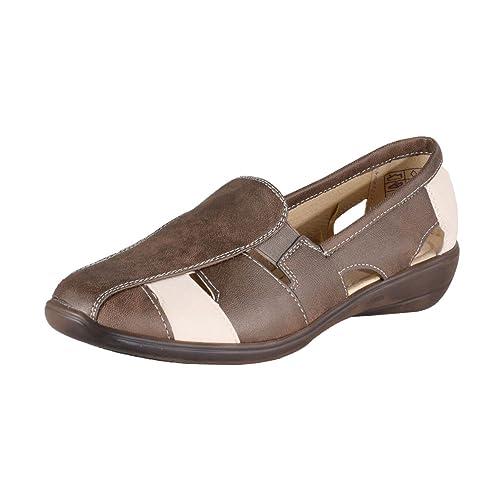 HSM Schuhmarketing - Mocasines de Material Sintético para mujer dorado marrón: Amazon.es: Zapatos y complementos