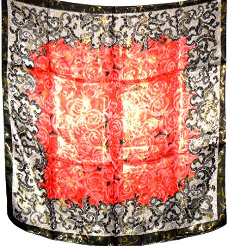 (Silksalon 100% Charmeuse Silk Scarf Shawl Wrap with Gold Thread Rose Red A957)