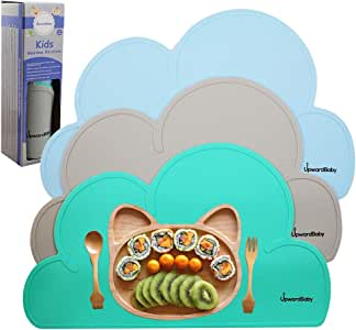 UpwardBaby Baby Silicone Non Slip Placemat for Toddlers and Kids - 3 Piece BPA Free Placemats Set | Clean Strong Place Mat Mealtimes for Travel and High Chairs | Easy to Clean - Space Saving Rolls Up