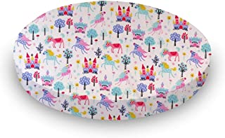 product image for SheetWorld 100% Cotton Percale Round Crib Sheet, Unicorns, 42 x 42, Made in USA