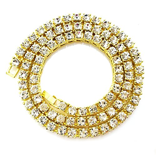 HH Bling Empire Unisex Iced Out Hip Hop Gold Artificial Diamond cz Tennis Chain 20 24 30 Inches (1 Row-Gold-18)