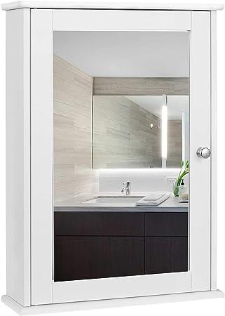 Oferta amazon: EUGAD Armarios con Espejo para Baño Cocina Mueble Espejo para Baño Mueble de Pared de baño Espejo con Estante Mueble Joyero de Madera 42 x 58,5 x 12 cm Blanco 0019WY