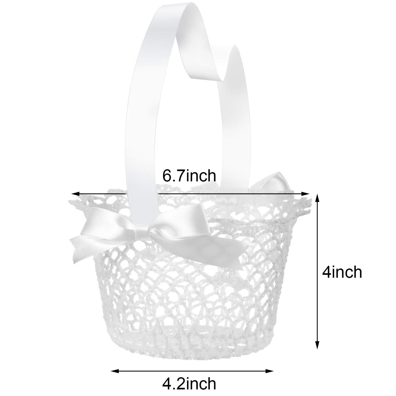White Handle Wedding Flower Girl Baskets 2 Packs Boao