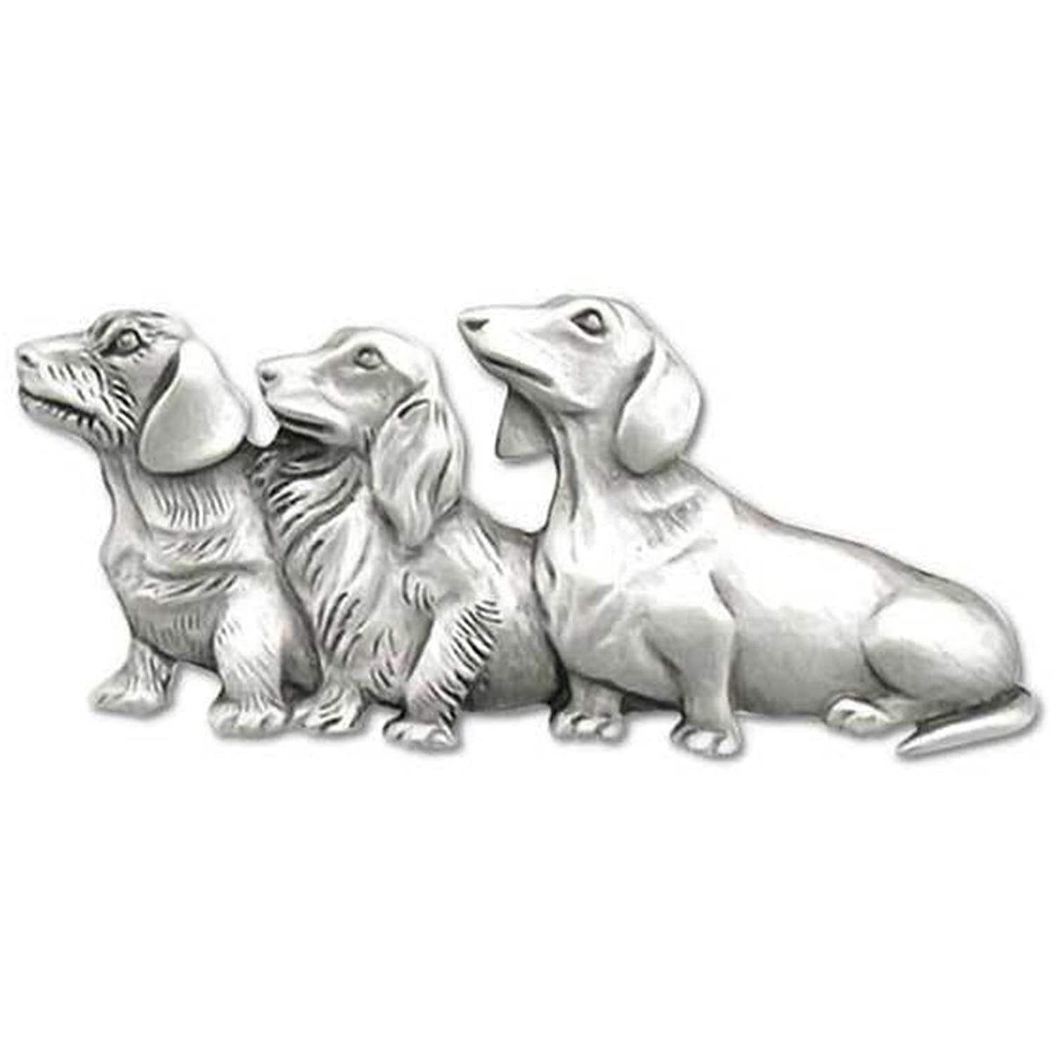 """""""Friends Forever"""" Dachshund Dog Trio Pin - Chelsea Pewter Jewelry"""