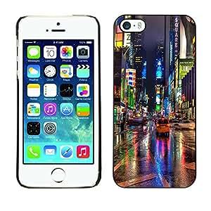 [Neutron-Star] Snap-on Series Teléfono Carcasa Funda Case Caso para iPhone 5 / 5S [Broadway Street Ciudad de Nueva York Luces de lluvia]