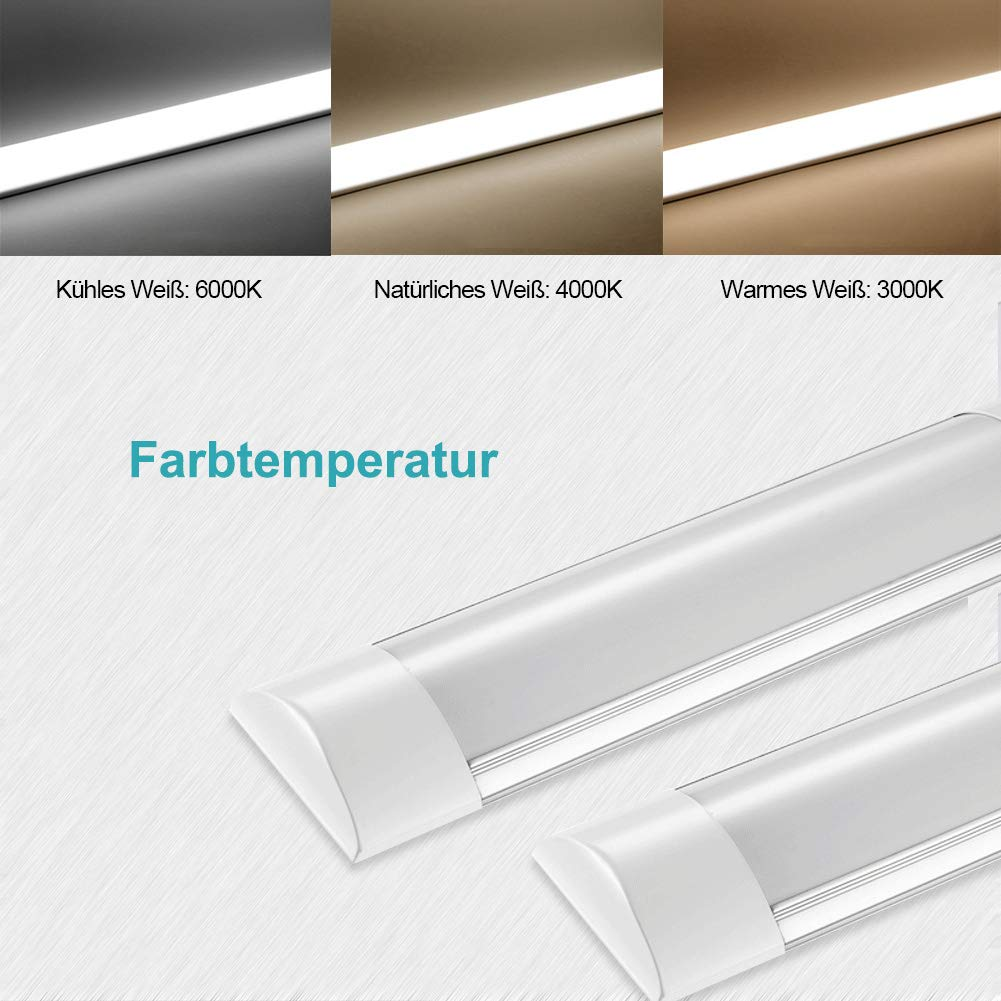 60cm 20w Industrial Super Clean White Bright Tube Light Ideal Ceiling for Home or Commercial use,Cupboard lamp,Slim LED Batten Striplight 2400LM,4000K Nature White, 60cm