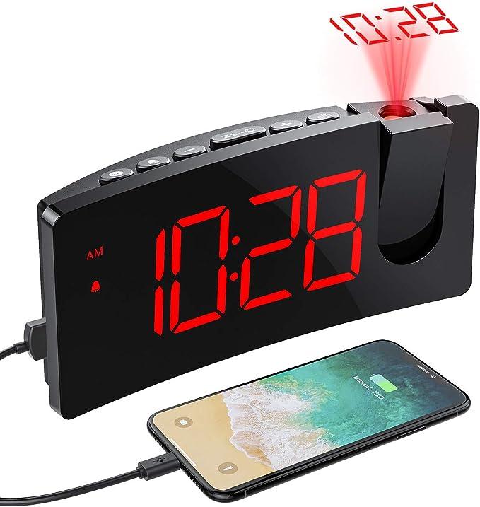 Mpow Despertador Proyector, Despertadores Digitales con Puerto USB ...