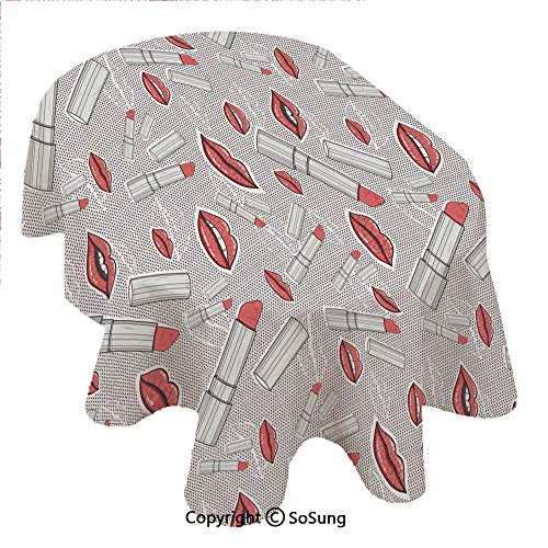 SoSung Doodle Oval Polyester Tablecloth,Make Up Pattern Lips and Lipstick Fashion Girl Theme Beauty Treatment Cosmetic Design Decorative,Dining Room Kitchen Oval Table Cover, 60 x 120 inches,Red Grey