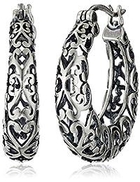 "Sterling Silver Oxidized Bali Round Hoop Earrings (1"")"