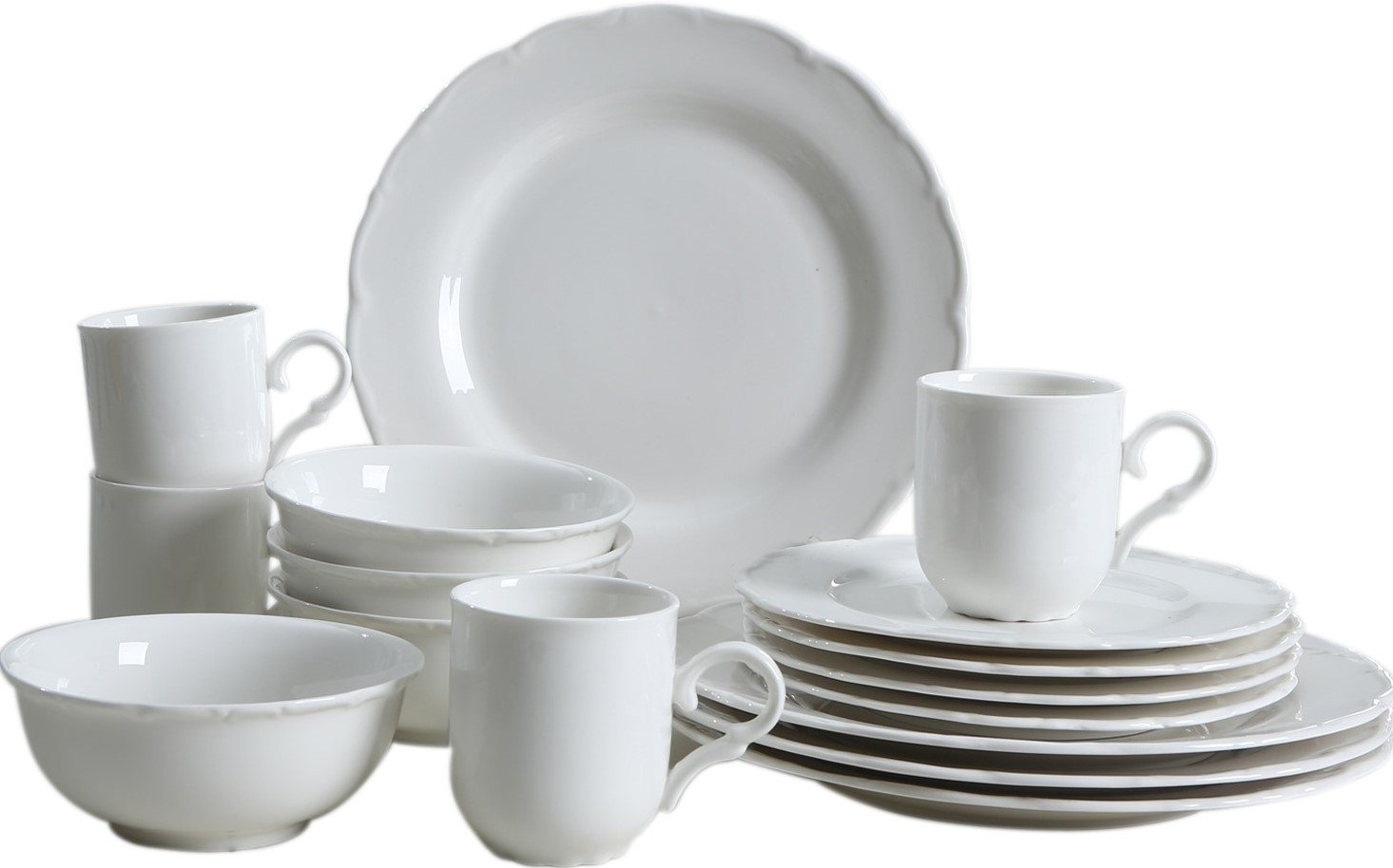 "SOLECASA""16-Piece/Service for 4"" Porcelain/Ceramic Dinnerware and Serveware Set,Ideal Place Setting Set,Round Assorted Dinner Set,Classic White - USAGE: Great for Home & Restaurant use,also can be practical & decent gift to your intimates on holidays. DESIGN: (1)Contemporary style design and Fine finish with nice gloss. (2)Classical winter frost white,well-matched with other tableware. (3)Light with durability,non-slip & non-stick. MATERIAL: Made of high quality porcelain/ceramic,healthy & sturdy for daily use,and very easy to clean. - kitchen-tabletop, kitchen-dining-room, dinnerware-sets - 61FS040haVL -"