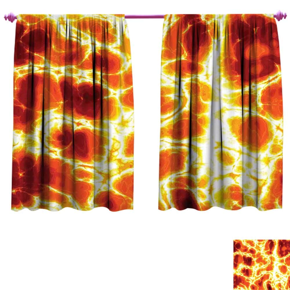 Burnt orange waterproof window curtain hot burning lava texture bursting fire flames volcanic heated magma image decorative curtains for living room w55 x