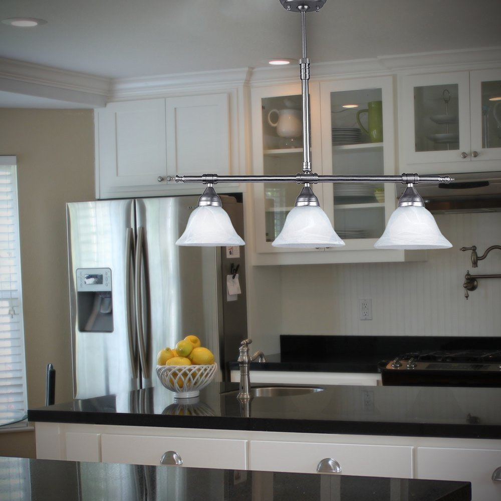 Brushed Nickel Island Pendant with Alabaster Glass Globes by HowPlumb (Image #3)