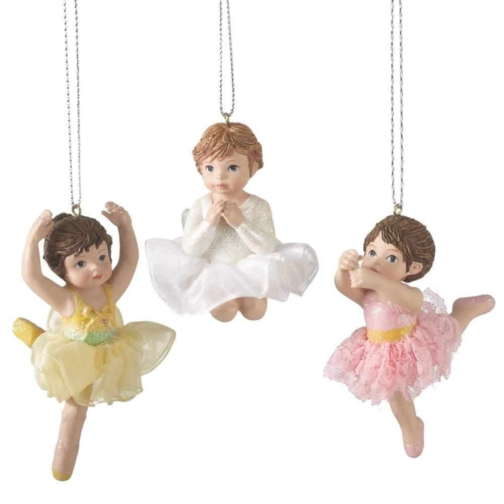 Christmas Holiday Little Girl Ballerina Ornaments - Set of 3, 2'' - 3''