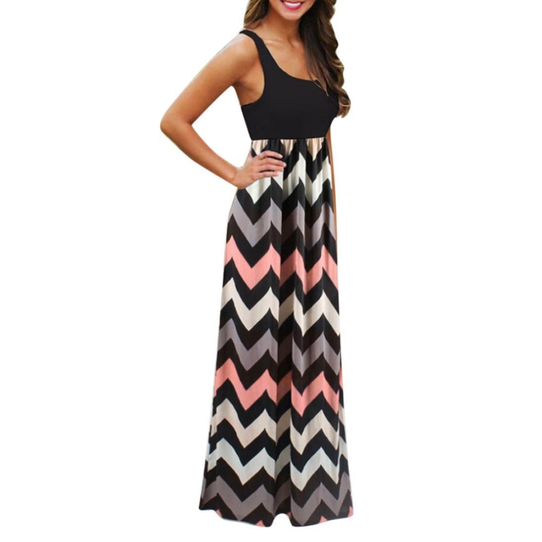 Striped Boho Long Dress, AgrinTol Womens Summer Plus Size Striped Boho Long Dress (M, Black)