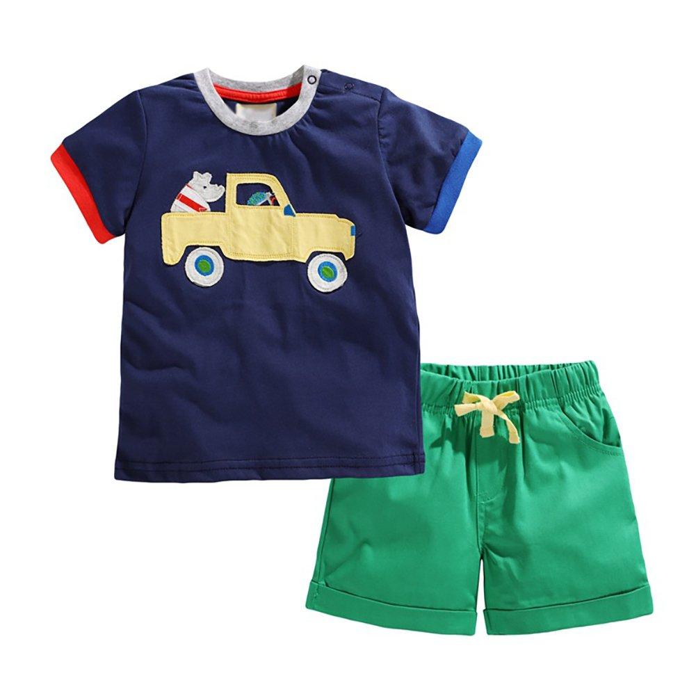 Motteecity Fashion Boys Summer Clothes Set Cartoon T-Shirt Shorts Soft