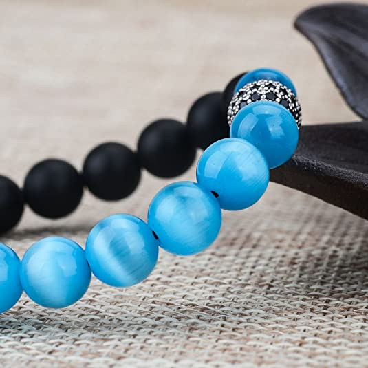 Amazon.com: Jeka Blue Cat Eye Stone and Agate Beads Bracelet Adjustable Healing Braided for Women Girl Cystal Disco Ball Charm Natural Gemstone Balance ...