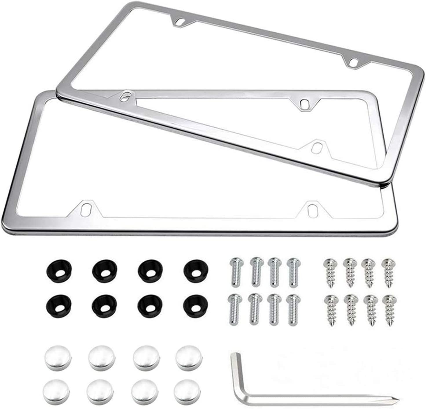 License Plate Frames, Indeebuy 2 Pcs 4 Holes Slim Stainless Steel Polish Mirror License Plate Frame and Chrome Screw Caps
