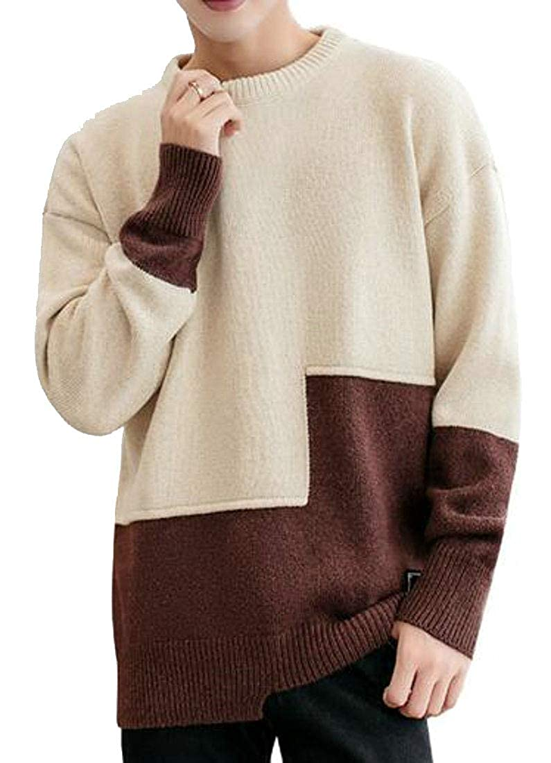 pipigo Men Classic Fit Knitted O-Neck Pullover Long Sleeve Winter Stitching Sweaters