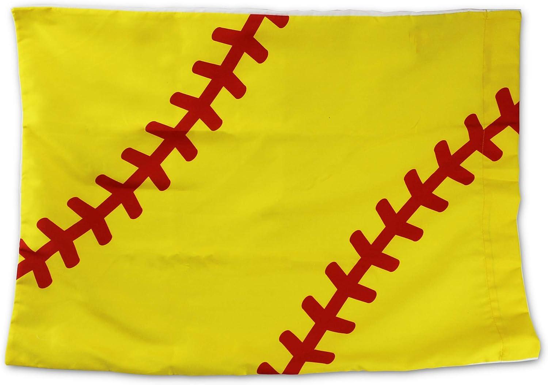 KNITPOPSHOP Softball Stitch Pillowcase for Standard Pillow Gift Decor Boys Stocking Stuffer