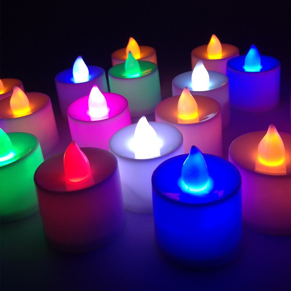 Sekishun-cho Battery-powered Flameless LED Tealight Candles - The Perfect Decoration 24 Pack (Multi-colored)