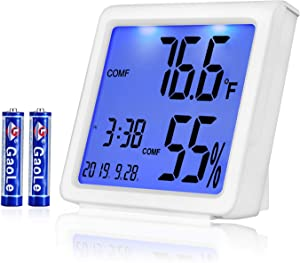 AE Life Indoor Thermometer Hygrometer, Temperature Humidity Gauge with Digital Mini Desk Clock, Backlit Accurate Monitor Clear Reading, °C/°F Switch, Calendar, Time Display for Home, Office - White