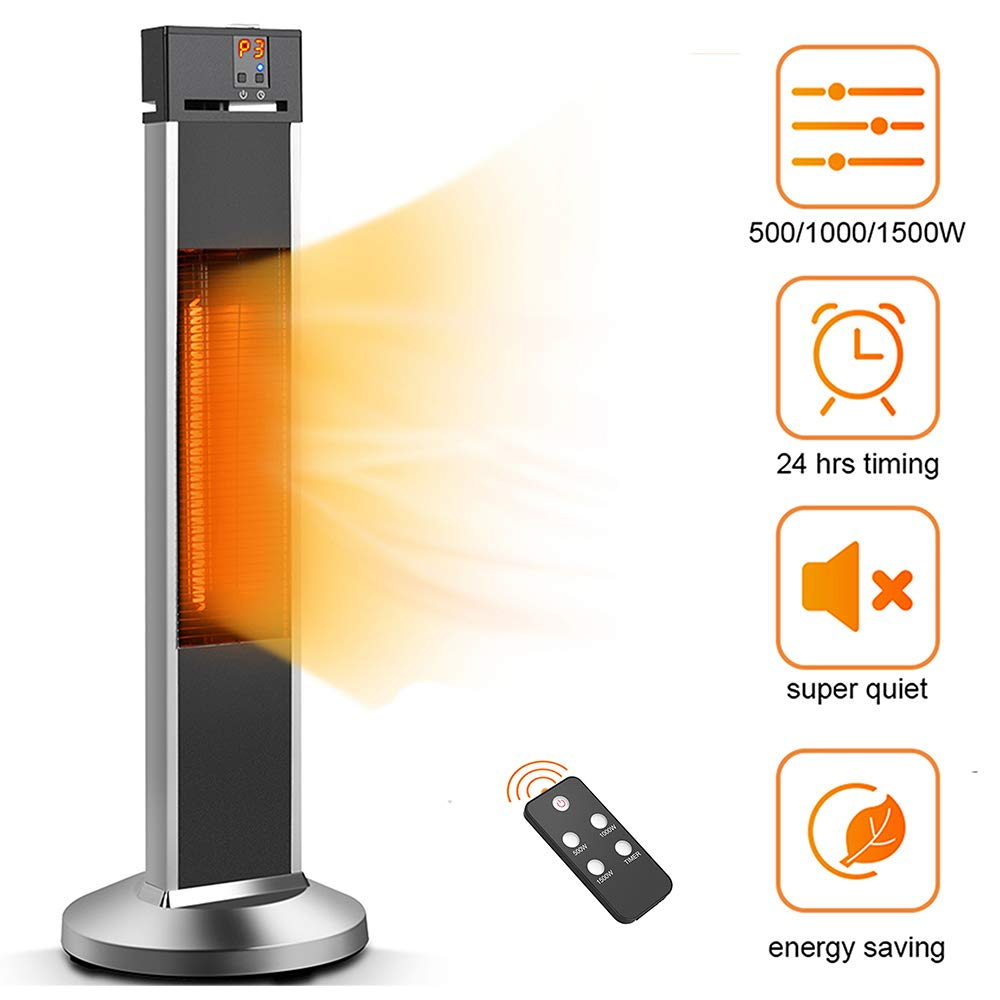 TRUSTECH Patio Heater- Space Heater Electic Infrared Heater w/Remote, 24 Timing Auto Shut Off Radiant Heater, 500/1000/1500W, Super Quiet 3s Instant Warm Vertical Heater for Big Room Outdoor Backyard