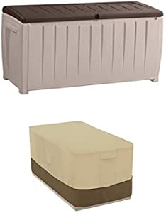 Keter Novel Plastic Deck Storage Container Box Outdoor Patio Furniture 90 Gal with Deck Box Cover - Durable and Water-Resistant Patio Furniture Cover