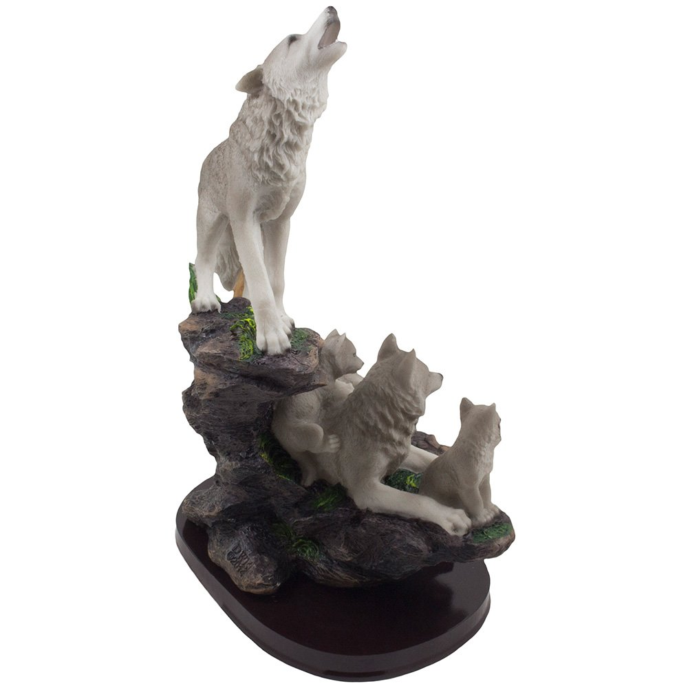 Wolves or Timberwolves Collectible Art Gifts Howling Wolf and Family on a Rock Statue for Decorative Lodge and Rustic Cabin Decor Sculptures and Figurines /& Wildlife Animal