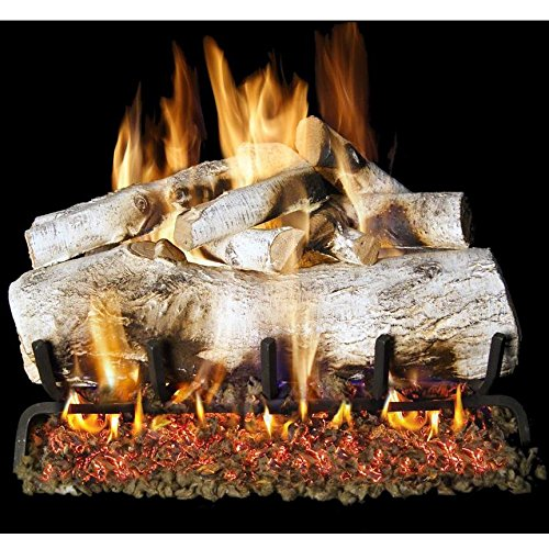 Peterson Real Fyre 30-inch Mountain Birch Outdoor Log Set With Vented Natural Gas Stainless G45 Burner