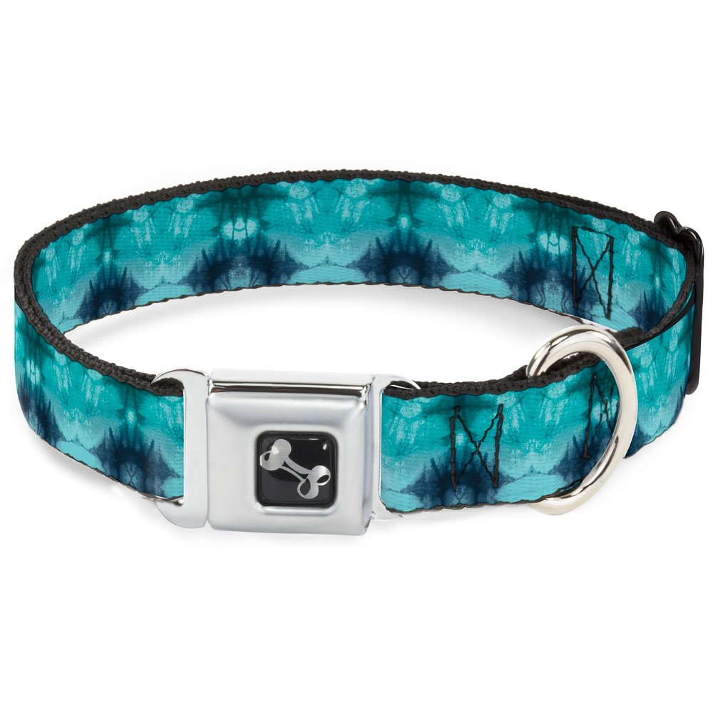 Buckle-Down Seatbelt Buckle Dog Collar Tie Dye Reflection Turquoise bluees 1  Wide Fits 11-17  Neck Medium