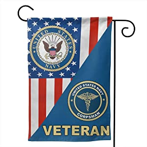 RGHJK Us Navy Hospital Corpsman Veteran Full-Width Printing Home Garden Flag Double Sided Banner Backyard Or Lawn Decoration