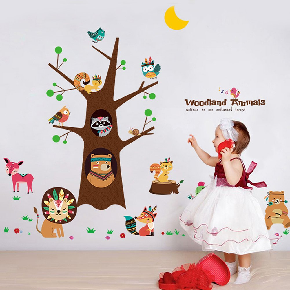 TC-collection 3D Wall Stickers- Woodland Animal - Removable Mural Decals for Kids Child Bedroom Ceiling Living Room Nursery Home Decor 23.6inch x 35.4inch (Woodland Animal)