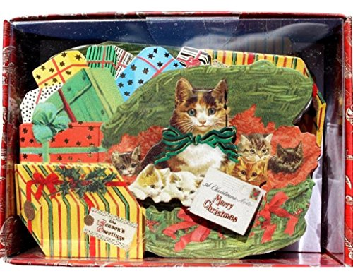 Punch Studio Christmas Presents Kittens Embellished Holiday Die-Cut Ephemera Cards, 10 ct