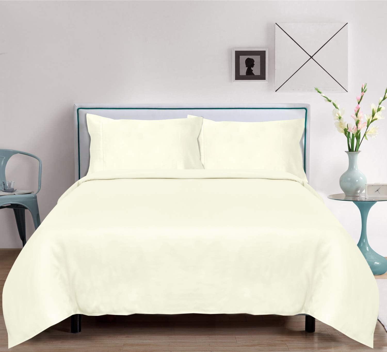 LINENWALAS Bamboo Sheets King Size   Christmas 100% Organic Softest Moisture Wicking Deep Pocket Bedding   Silk Like Soft, Cooling Luxury Resort Bed Sheet Set (King, Ivory)