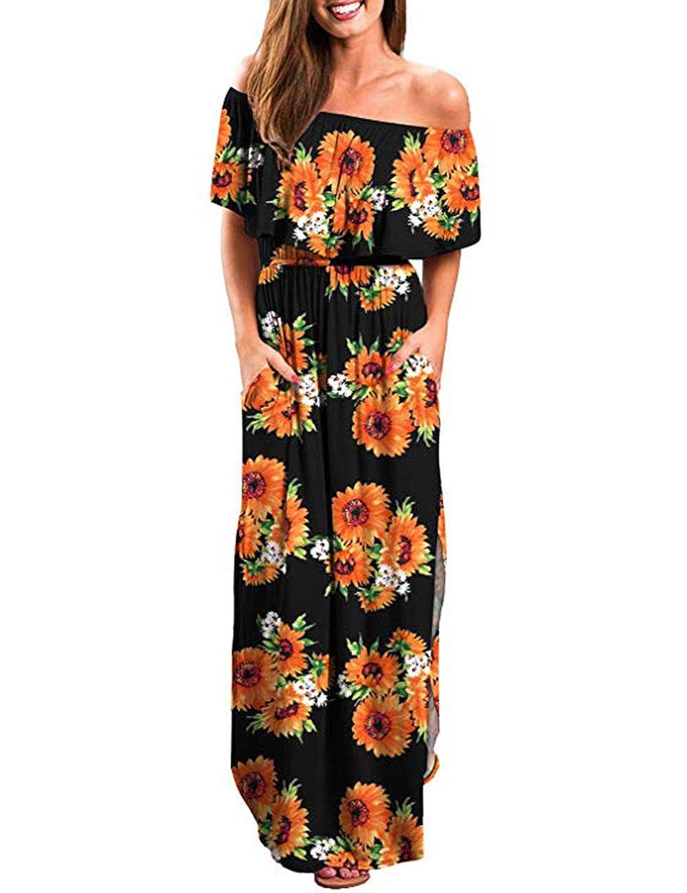 AKEWEI Women Maxi Dresses Summer V Neck Short Sleeve Long Dress with Pocket Beach Skirt Cover Up Slits