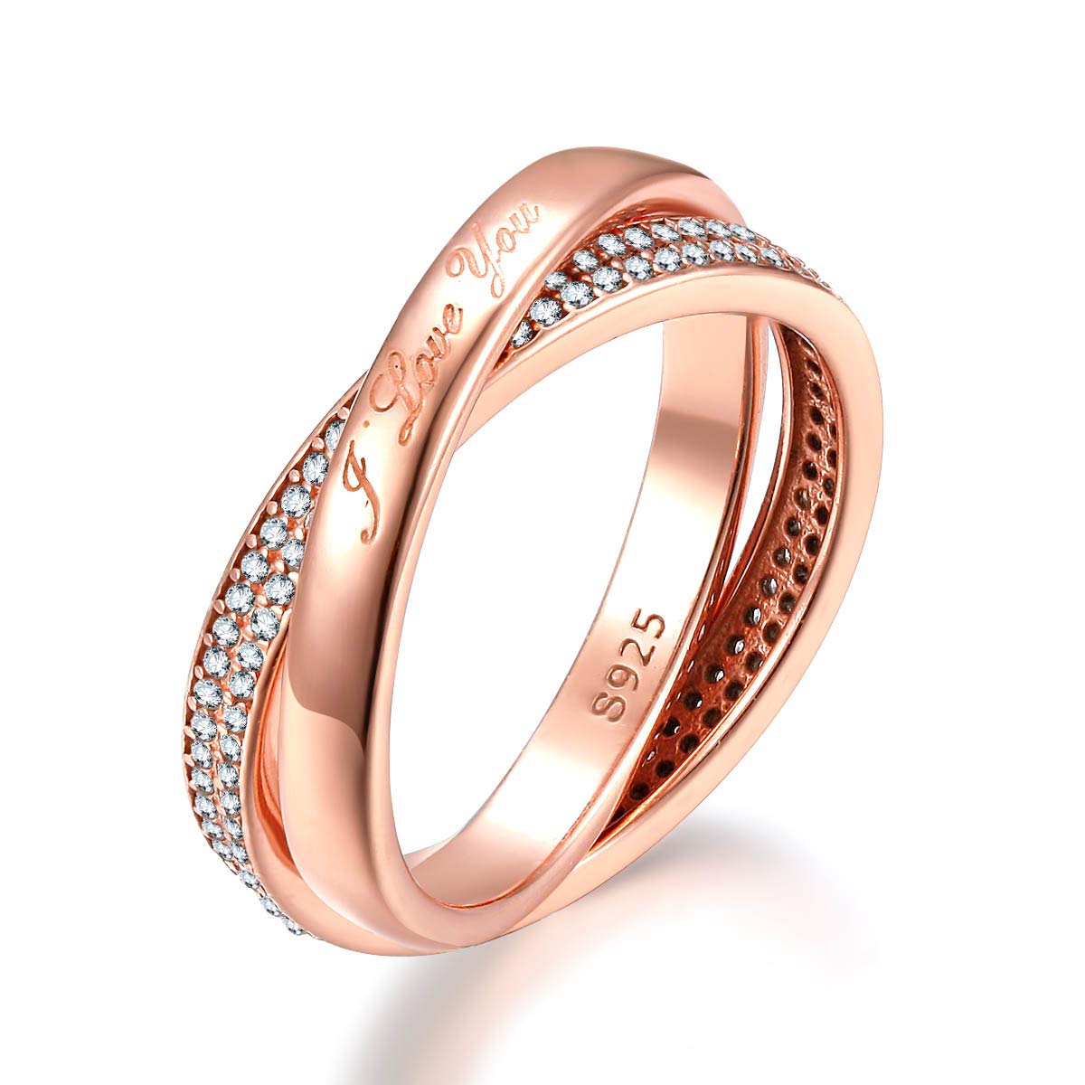 Presentski Love Promise Ring for Her Silver Rose Gold Plated