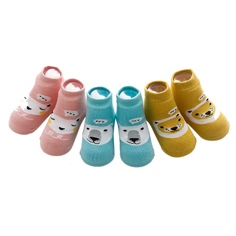 dkDaKanl Baby Ankle Socks with Grips 3 Pair Unisex Newborn Toddler Socks Non slip