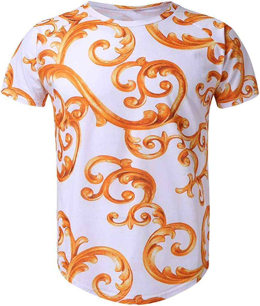Mens Fashion Casual Short Sleeve Round Neck Slim Fit Vintage Ethnic Gym Bodybuilding Summer T Shirts Tops