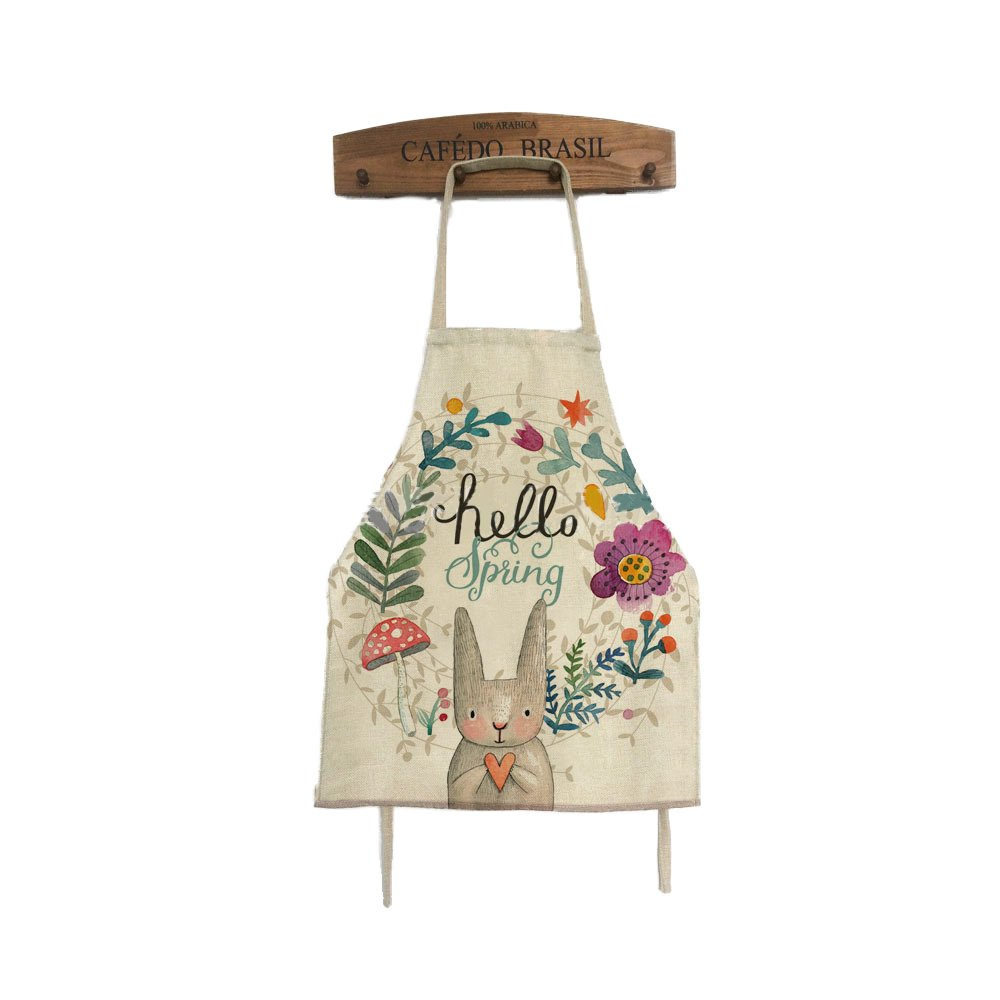 Nunubee Polyester Rabbit & Bee Printed Kitchen Apron for Cooking Cleaning Crafting 40X50 CM Style 1